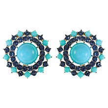 Buy Eclectica 1960s Trifari Faux Turquoise and Glass Chrome Clip-On Earrings Online at johnlewis.com