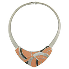Buy Eclectica 1980s Trifari Chrome Plated Enamel Geometric Necklace, Peach Online at johnlewis.com