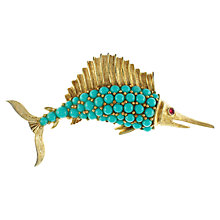 Buy Eclectica 1950s Trifari Swordfish Brooch, Turquoise Online at johnlewis.com