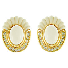 Buy Eclectica 1970s Christian Dior Gold Plated Clip-On Earrings, Cream Online at johnlewis.com