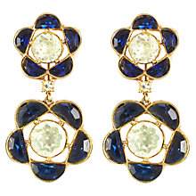 Buy Eclectica Vintage 1940s Trifari Glass Drop Clip-On Earrings, Navy Online at johnlewis.com