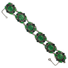Buy Eclectica 1950s Silver Plated Linked Bracelet, Green Online at johnlewis.com