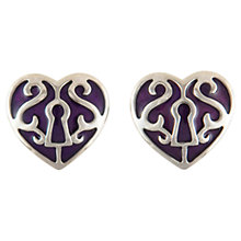 Buy Eclectica 1980s Trifari Enamel Heart Clip-On Earrings, Purple Online at johnlewis.com