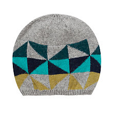 Buy John Lewis Geometric Triangle Beanie Hat, Blue Online at johnlewis.com