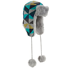 Buy John Lewis Geometric Triangle Trapper Hat, Blue Online at johnlewis.com
