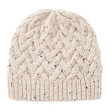 Buy John Lewis Lattice Cable Beanie, Cream Online at johnlewis.com