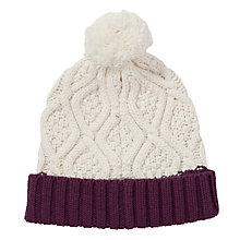 Buy John Lewis Cable Pom Beanie, One Size, Cream Online at johnlewis.com