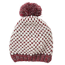 Buy Collection WEEKEND by John Lewis, Loop Stitch PomPom Beanie Hat, Grey/Burgundy Online at johnlewis.com