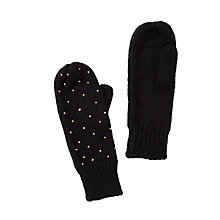 Buy John Lewis Studded Rib Mitten Gloves, Black Online at johnlewis.com