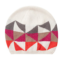 Buy John Lewis Geometric Triangle Beanie Hat, Pink Multi Online at johnlewis.com