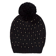 Buy John Lewis Studded Rib Beanie Hat, Black Online at johnlewis.com