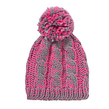 Buy Collection WEEKEND by John Lewis Chunky Wide Rib Beanie Hat, Pink/Grey Online at johnlewis.com