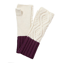Buy Collection WEEKEND by John Lewis Cable Fingerless Gloves, Cream Online at johnlewis.com