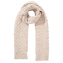 Buy John Lewis Lattice Cable Knit Scarf, Cream Online at johnlewis.com