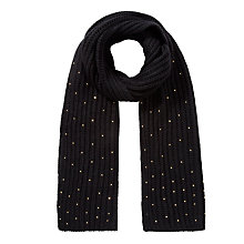 Buy John Lewis Studded Rib Scarf, Black Online at johnlewis.com