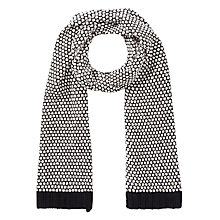 Buy Collection WEEKEND by John Lewis Popcorn Stitch Scarf, Black/Cream Online at johnlewis.com