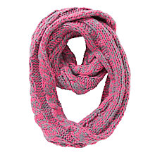 Buy Collection WEEKEND by John Lewis Chunky Wide Rib Snood Scarf, Pink/Grey Online at johnlewis.com