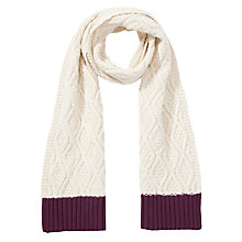 Buy Collection WEEKEND by John Lewis Cable Scarf, Cream Online at johnlewis.com