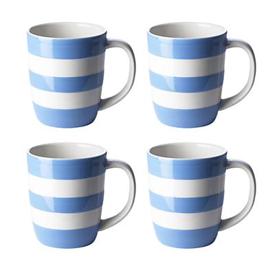 Cornishware Mugs, Set of 4
