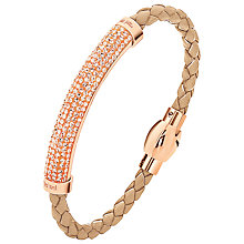 Buy Folli Follie Dazzling Crystal Rose Gold Plaited Bracelet, Beige Online at johnlewis.com