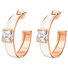 Buy Folli Follie Colourful Enamel and Crystal Demi-Hoop Stud Earrings, Rose Gold / White Online at johnlewis.com