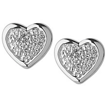 Buy Links of London Diamond Essentials Heart Stud Earrings, Silver Online at johnlewis.com