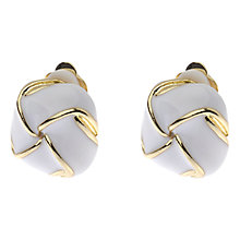 Buy Adele Marie Pearlescent Knot Clip Earrings, White / Gold Online at johnlewis.com