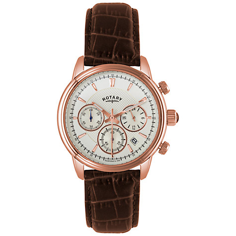 Buy Rotary GS02879/06 Men's Monaco Rose Gold Plated Leather Strap Watch, Brown/White Online at johnlewis.com