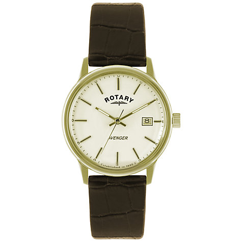 Buy Rotary GS02876/03 Men's Avenger Leather Strap Watch, Brown/Cream Online at johnlewis.com