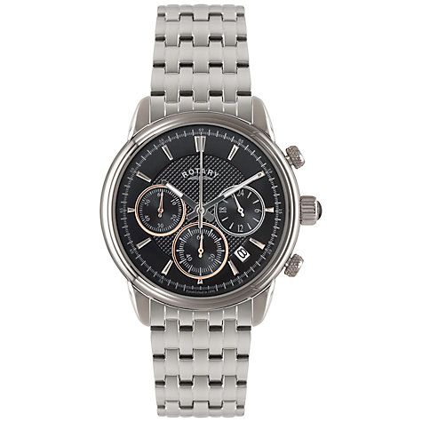 Buy Rotary GB02876/04 Men's Chronograph Stainless Steel Bracelet Strap Watch, Silver/Black Online at johnlewis.com