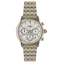 Buy Rotary GB02877/06 Men's Chronograph Bracelet Strap Watch, Silver / Rose Gold Online at johnlewis.com