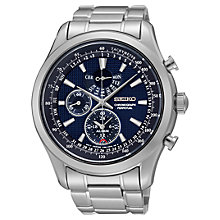 Buy Seiko SPC125P1 Men's Alarm Chronograph Bracelet Strap Watch, Silver/Blue Online at johnlewis.com