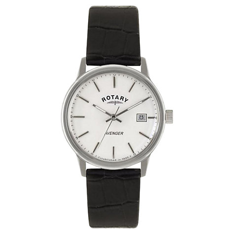 Buy Rotary GS02874/06 Men's Avenger Leather Strap Watch, Black/White Online at johnlewis.com