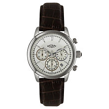 Buy Rotary GS02876/06 Men's Monaco Collection Chronograph Crocodile Leather Watch, Brown Online at johnlewis.com