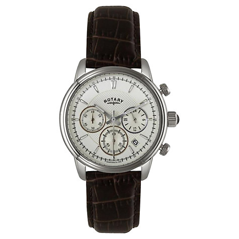 Buy Rotary GS02876/06 Men's Monaco Chronograph Leather Strap Watch, Brown/Silver Online at johnlewis.com