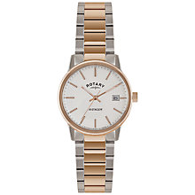 Buy Rotary GB02875/06 Men's Two-Tone Bracelet Strap Watch, Rose Gold/Silver Online at johnlewis.com