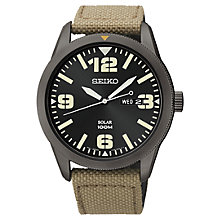 Buy Seiko SNE331P9 Men's Solar Military Canvas Strap Watch, Green / Black Online at johnlewis.com