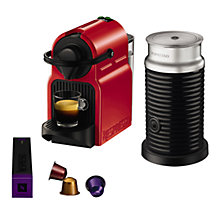 Buy Nespresso Inissia Coffee Machine with Aeroccino by KRUPS, Red Online at johnlewis.com
