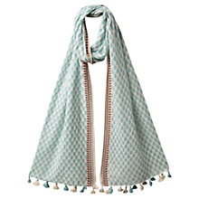 Buy East Leaf Print Pompom Scarf, Duck Egg Online at johnlewis.com