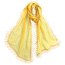 Buy East Lace Linen Pom Pom Border Scarf, Daffodil Online at johnlewis.com