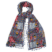 Buy Phase Eight Floral Pom Pom Scarf, Multi Online at johnlewis.com