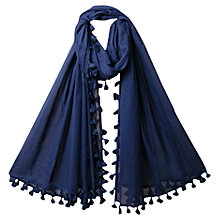 Buy East Pom Pom Beach Scarf, Indigo Online at johnlewis.com