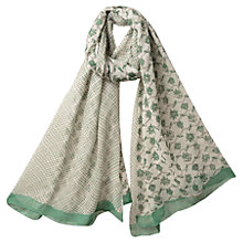 Buy East Patchwork Handblock Scarf, Green Online at johnlewis.com