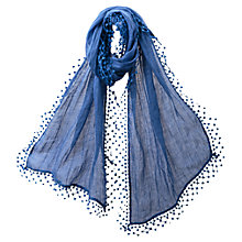 Buy East Lace Pom Pom Border Scarf, Azure Online at johnlewis.com