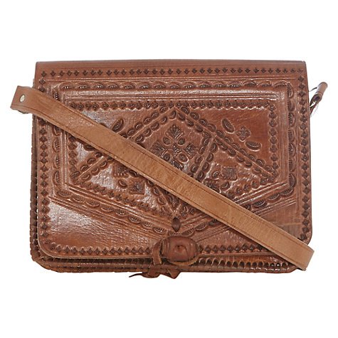 Buy Warehouse Tooled Leather Satchel Bag, Tan Online at johnlewis.com
