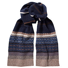 Buy Barbour Felted Fair Isle Lambswool Scarf, Blue/Stone Online at johnlewis.com