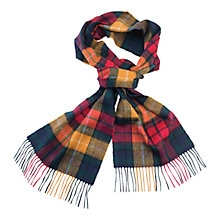 Buy Barbour Merino Cashmere Blend Tartan Scarf, Yellow/Red Online at johnlewis.com