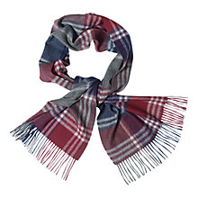 Buy Barbour Kindar Check Scarf, Bordeaux/Grey Online at johnlewis.com