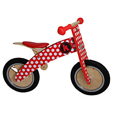 Buy Kiddimoto Kurve Balance Bike, Red & White Dotty Online at johnlewis.com