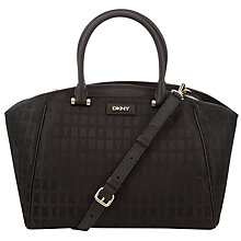 Buy DKNY HQ Print Saffiano Leather Satchel Bag, Black Online at johnlewis.com
